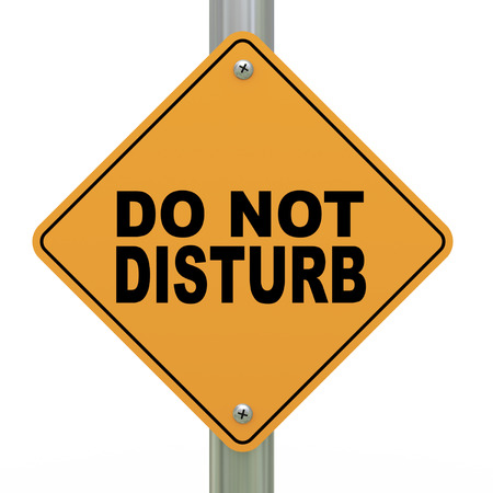 inconvenience: 3d illustration of yellow roadsign of do not disturb Stock Photo