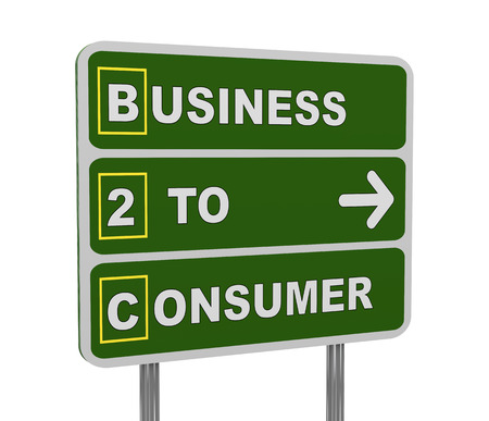 b2e: 3d illustration of green roadsign of acronym b2c - business to consumer