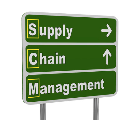 scm: 3d illustration of green roadsign of acronym scm - supply chain management