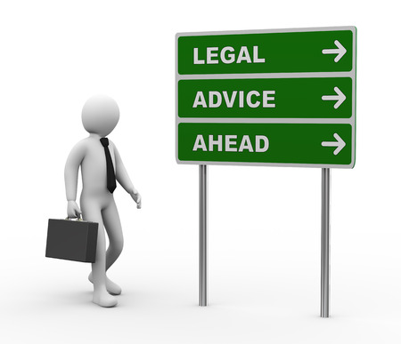 3d illustration of man and green roadsign of legal advice ahead. 3d rendering of human people character. Stock Photo