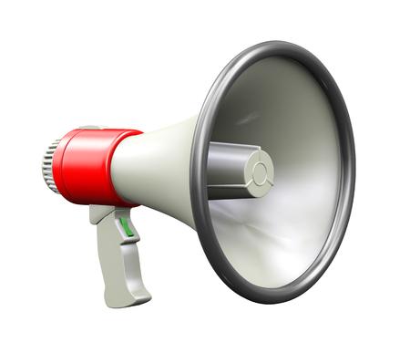 mega phone: 3d illustration of detailed megaphone on white background