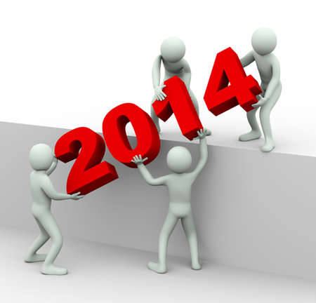 3d illustration of men placing year 2014.  3d rendering of human people character and team work.
