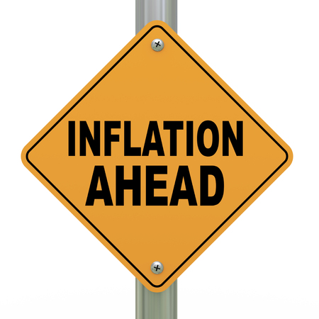 credit risk: 3d illustration of yellow roadsign of inflation ahead