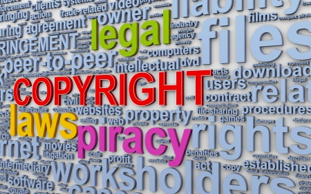 infringement: 3d illustration of wordcloud word tags of copyright