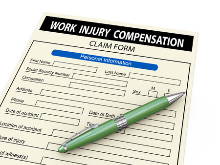 compensate: 3d illustration of work injury claim form and pen.