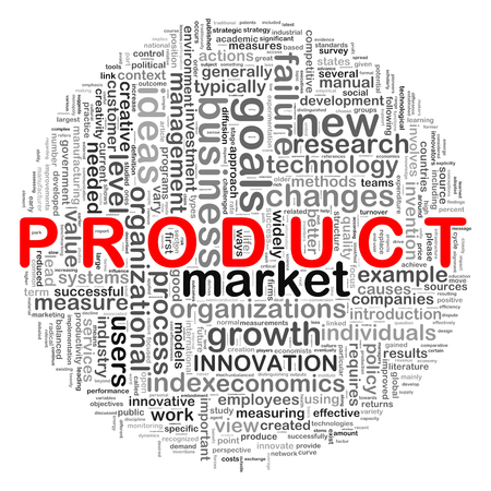 Illustration of circular design wordcloud word tags of product