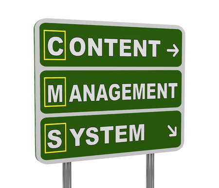 acronym: 3d illustration of green roadsign of acronym cms - content management system Stock Photo