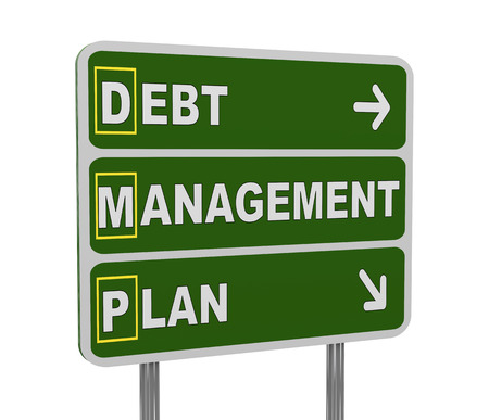 debt management: 3d illustration of green roadsign of acronym dmp - debt management plan Stock Photo