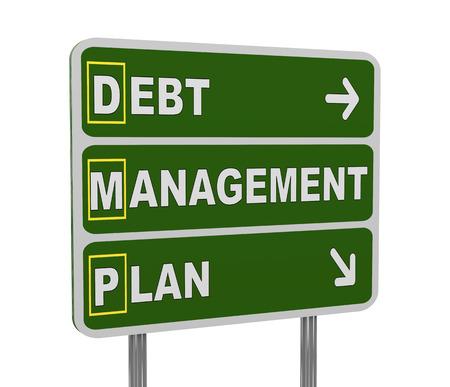 debt management: 3d illustration of green roadsign of acronym dmp - debt management plan Stock Photo