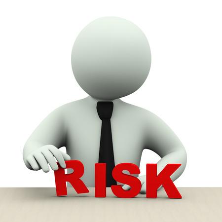 3D illustratie van zakelijke persoon die woordrisico 3D-weergave van het menselijk mensen karakter