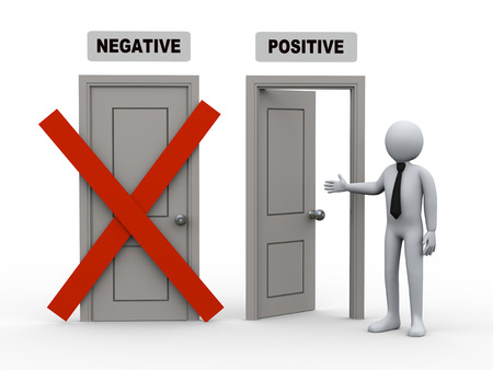 pessimist: 3d illustration of businesman offer for possitive way door while negative door has been closed  3d rendering of human people character and concept of positive thinking