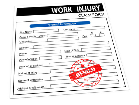compensate: 3d illustration of rejected denied rubber stamp on work injury claim form Stock Photo