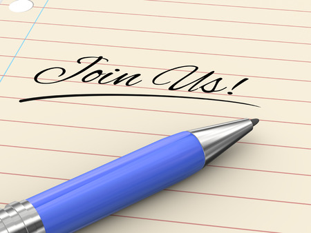 signup: 3d render of pen on paper written join us
