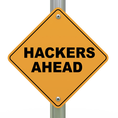 3d illustration of yellow roadsign of hackers ahead Stock Illustration - 22684009