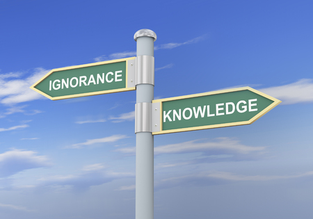 ignorance: 3d illustration of roadsign of words ignorance and knowledge