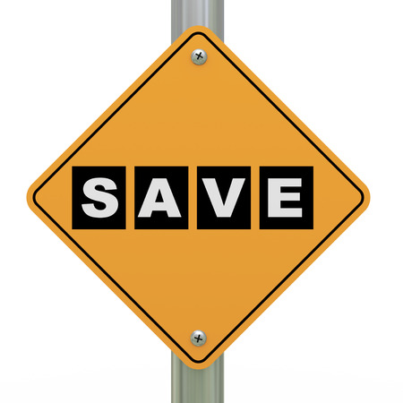 3d illustration of yellow roadsign of save illustration