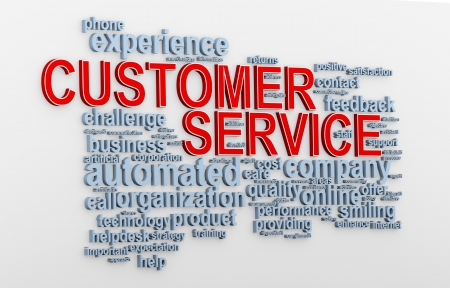 responded: 3d Illustration of customer service words tags Stock Photo