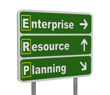 erp: 3d illustration of green roadsign of acronym erp - enterprise resource planning