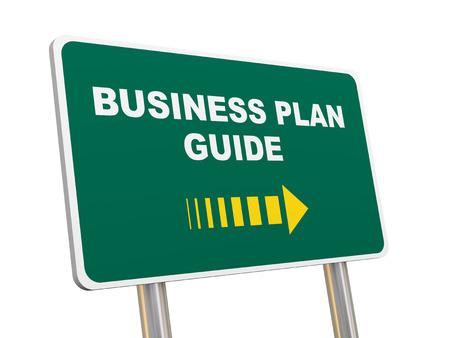 3d illustration of green sign post of business plan guide illustration