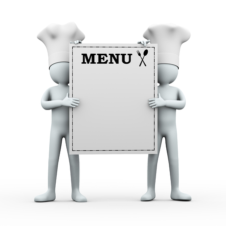 food to eat: 3d illustration of two chefs holding menu board   3d rendering of human people character