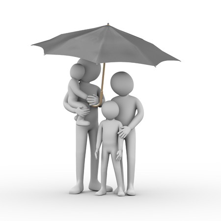 3d illustration of family member man, woman, kid, child boy girl under black umbrella  3d rendering of man people character