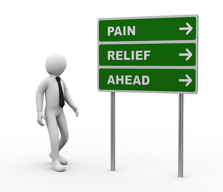 pain relief: 3d illustration of man and green roadsign of pain relief ahead  3d rendering of human people character