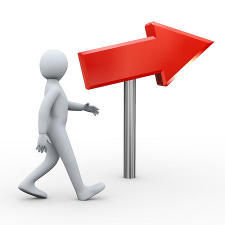 人間の人々 の文字の 3 d レンダリングの赤い矢印の方向へ歩いて男の 3 d イラストレーション