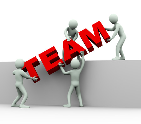 team working together: 3d illustration of men working together and placing word team   3d rendering of human people character and concept of team work Stock Photo