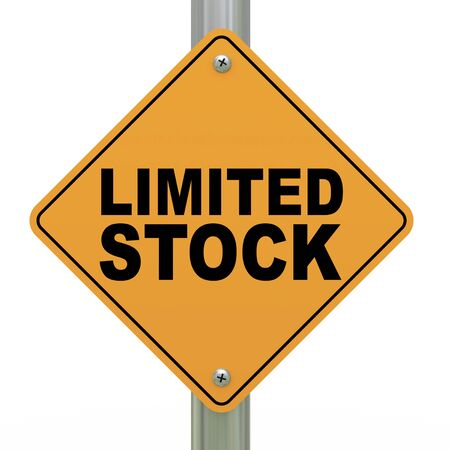 3d illustration of yellow roadsign of limited stock