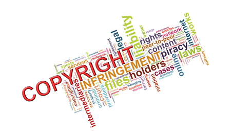 Illustration of wordcloud word tags of copyright  illustration