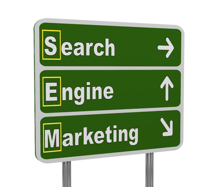 keywords advertise: 3d illustration of green roadsign of acronym sem -  search engine marketing