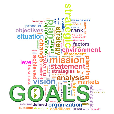 accomplishing: Illustration of concept of goals presentation as word tags and wordcloud design
