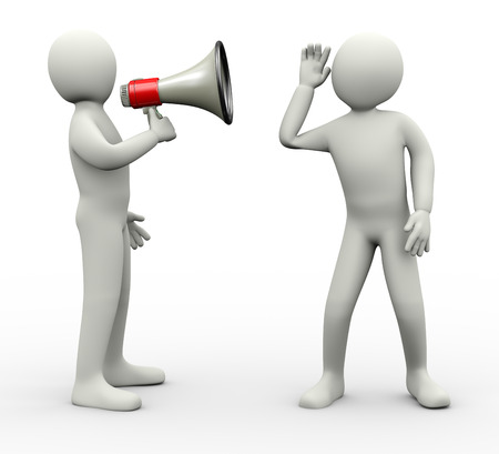3d illustration of person announcing through megaphone and another guy carefully listening  3d rendering of human people character