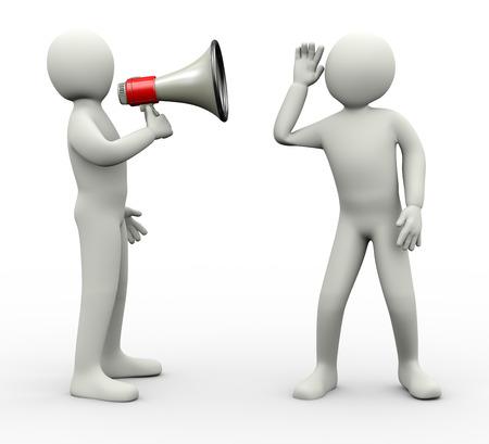 comunicarse: 3d ilustraci�n de la persona que anuncia a trav�s del meg�fono y otro tipo de escuchar atentamente 3D de car�cter humano personas