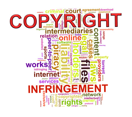 infringement: Illustration of wordcloud word tags of copyright