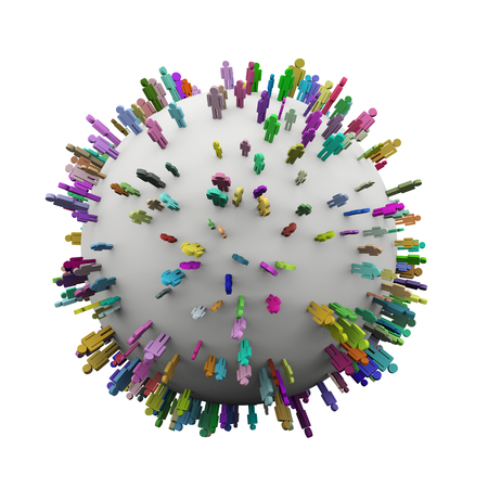 global village: 3d illustration of different colorful people spread over sphere  Concept of global village, people network and communication  Stock Photo
