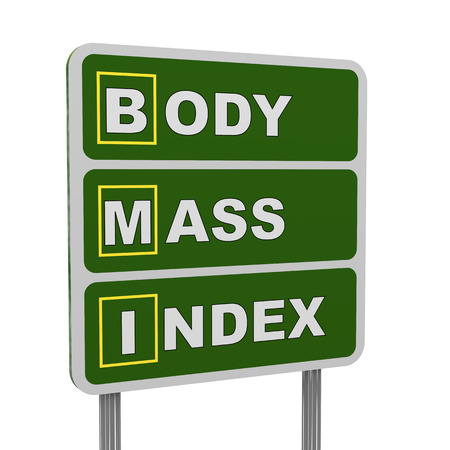 bmi: 3d illustration of green roadsign of acronym bmi - body mass index