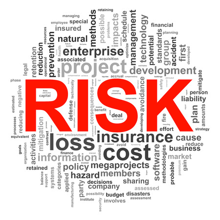 credit risk: Illustration of circular design wordcloud word tags of risk