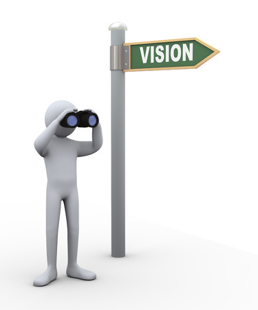 3d illustration of person near vision road sign with field glass binocular.  3d rendering of human people character.