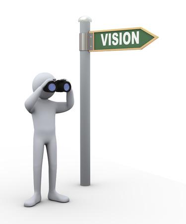 supervisión: 3d ilustración de la persona cerca de señal de tráfico con el campo de visión binocular cristal. Representación 3D de carácter gente humano. Foto de archivo