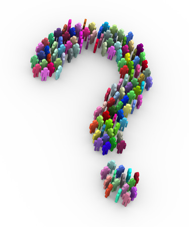 questionable: 3d illustration of question mark sign symbol created with colorful people man symbols. Stock Photo