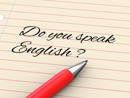 3d render of pen on paper written do you speak enlgish? Stock Photo - 22684135