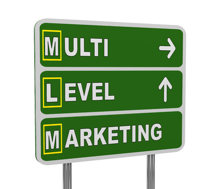 multi level: 3d illustration of green roadsign of acronym mlm - multi level marketing