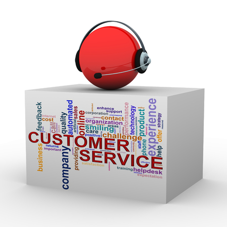3d illustration of sphere with headphone over customer support wordcloud word tags