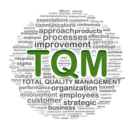 Illustration of word tags wordcloud  of tqm - total quality management illustration