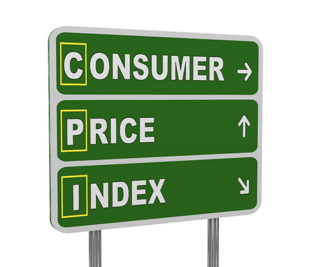 3d illustration of green roadsign of acronym cpi - consumer price index