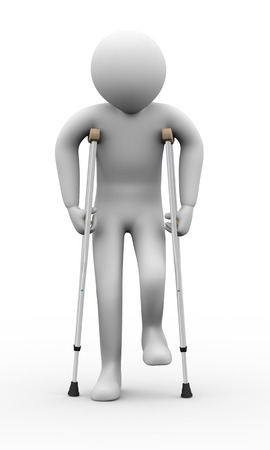 3d illustration of person walkingn with crutches   3d rendering of human people character Foto de archivo
