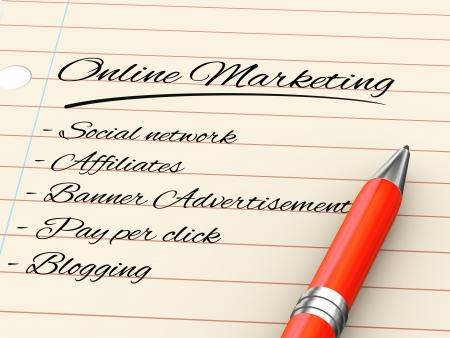 3d render of pen on paper written online marketing Stock Photo - 22990316