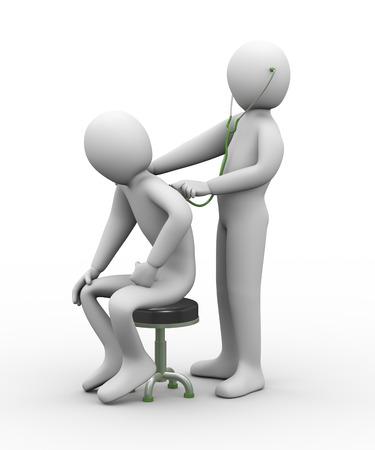 3D-afbeelding van arts onderzoekt een persoon met een stethoscoop 3D-rendering van de mens - mensen karakter Stockfoto