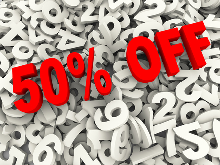 pay off: 3d illustration of fifty 50 percent offer over heap of numbers abstract background